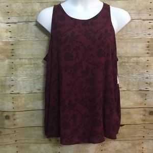 Old Navy XXL Swing Tank Shirt Burgundy Floral